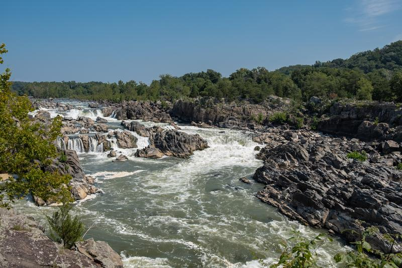 Potomac River, Great Falls State Park, Virginia. View of the Potomac River from Great Falls State Park in Virginia, United States of America stock image
