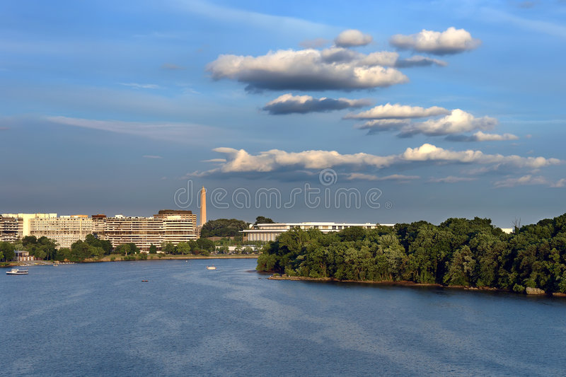 Potomac river at sunset stock photo
