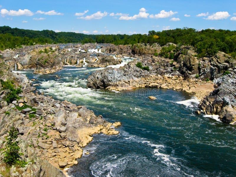Potomac Rivier, het Grote Park van de Staat van Dalingen, Virginia royalty-vrije stock foto's