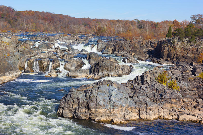 Potomac siklaw Rzeczna panorama w Great Falls stanu parku w Virginia, usa zdjęcia royalty free