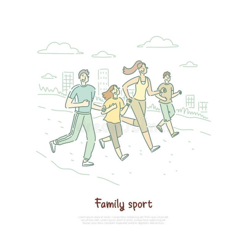 Potomstw dzieci w sportswear i rodzice, szczęśliwa para z dzieciakami biega wpólnie, zdrowy rodzinny sztandar royalty ilustracja