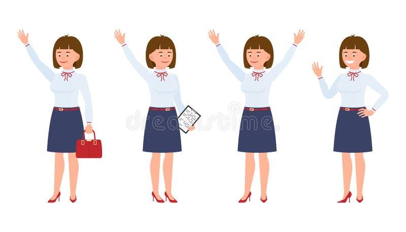 Potomstwa, ładny, szczęśliwy biurowy sekretarki falowanie, stoi ręki w górę, mówić cześć ilustracji