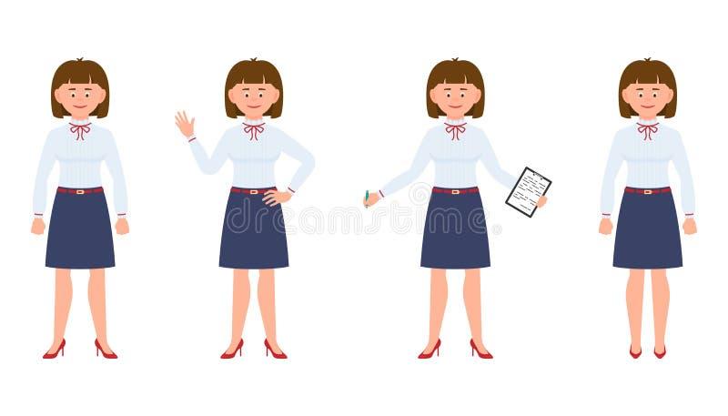 Potomstwa, śliczna, szczęśliwa biurowa sekretarki pozycja z notatkami, falowanie cześć, pisać, ono uśmiecha się royalty ilustracja