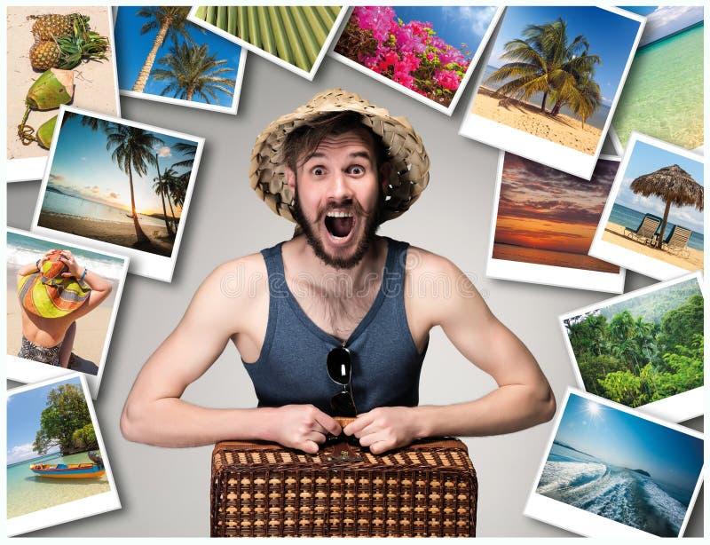 Potomstwa, atrakcyjny mężczyzna z walizką przygotowywającą podróżować jako turysta na szarym tle kolaż zdjęcie royalty free