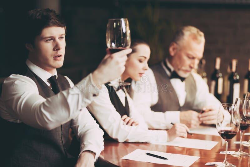 Potomstwa doświadczali sommelier spojrzenia przy cedziny wino w szkle czara ręki degustaci wino zdjęcia stock