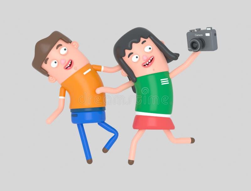 Potomstwa dobierają się brać selfie fotografię z kamerą 3D ilustracja, ilustracja wektor