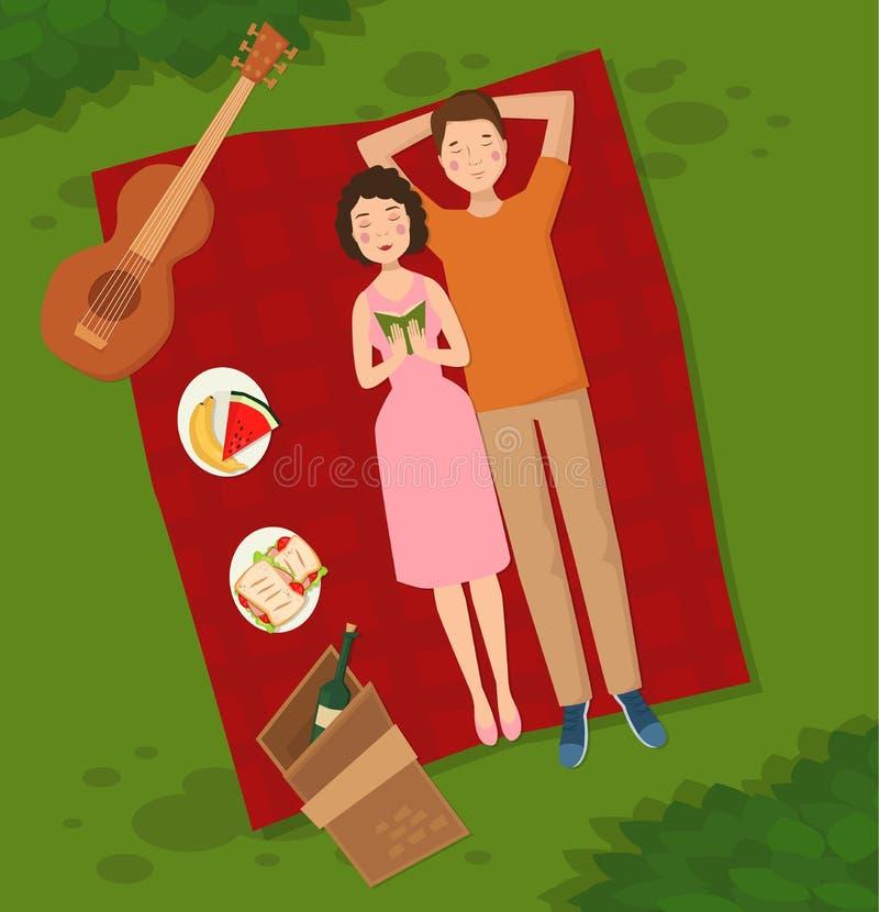 Potomstwa dobierają się dwa ludzie kobiety i mężczyzna kłamstwo na trawy wektorowej ilustraci lata picnik odgórny widok para w mi ilustracja wektor