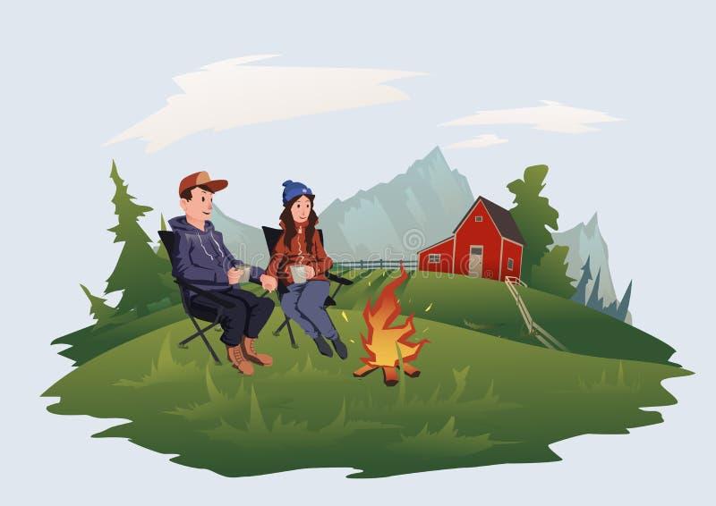 Potomstwa dobierają się, mężczyzna i kobiety wokoło ogniska na gospodarstwie rolnym obsiadanie, Halny wysokogórski krajobraz Odos ilustracja wektor