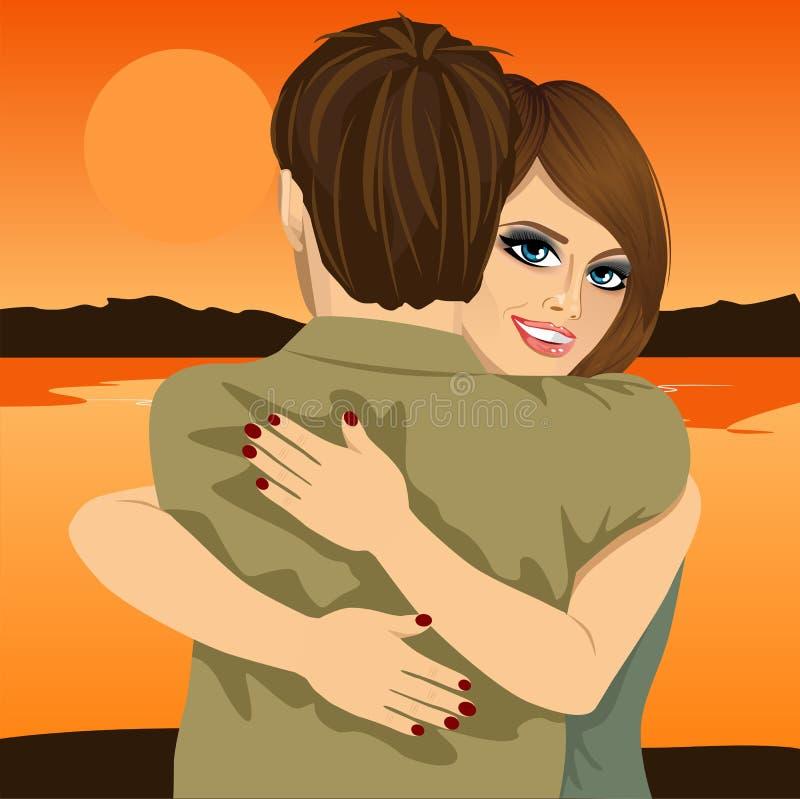 Potomstwa dobierają się przytulenie na banku rzeka w wieczór przy zmierzchem ilustracja wektor