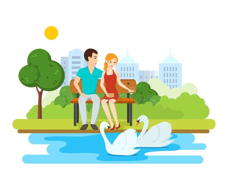 Potomstwa dobierają się, relaksują na ławka parku blisko jeziora z łabędź, ilustracji