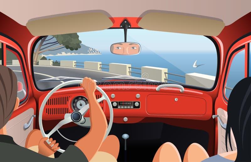 Potomstwa dobierają się tavelling na brzegowej drodze w retro samochodzie royalty ilustracja