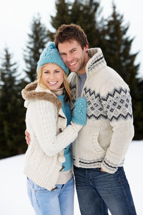 Potomstwa Dobierają się W Alpejskiej Śnieżnej Scenie zdjęcia royalty free