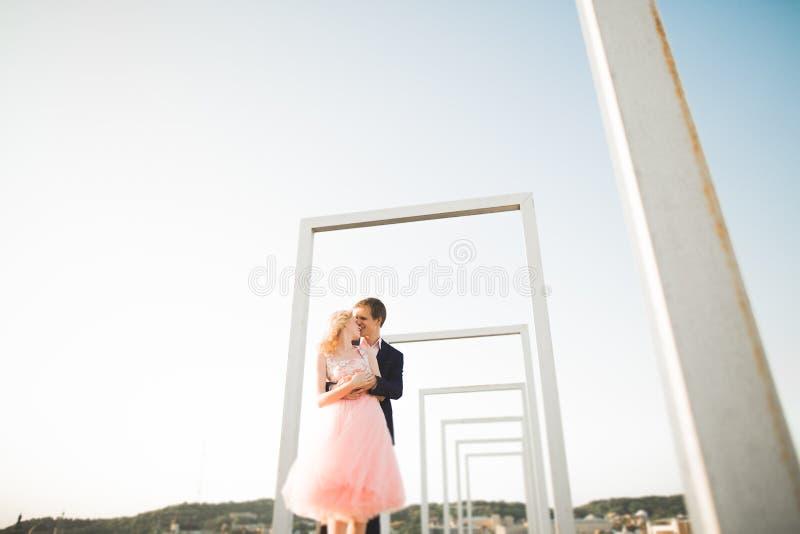 Potomstwa dobierają się w miłości pozuje na dachu z perfect miasto widoku mienia przytuleniem i rękami piękny zachód słońca zdjęcia royalty free