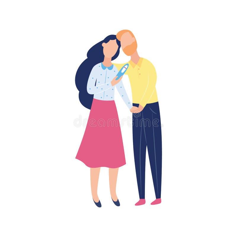 Potomstwa dobierają się z negatywnym ciążowym testem, dwa postaciami z kreskówki i kobietą patrzeje smutni nad nieurodzajność pro royalty ilustracja