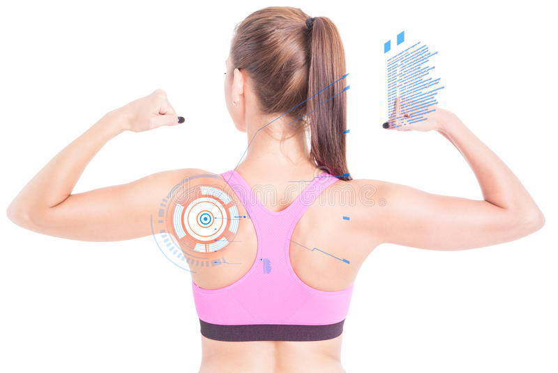 Potomstwa dostosowywali kobiety pokazuje ona bicepsy zdjęcia stock