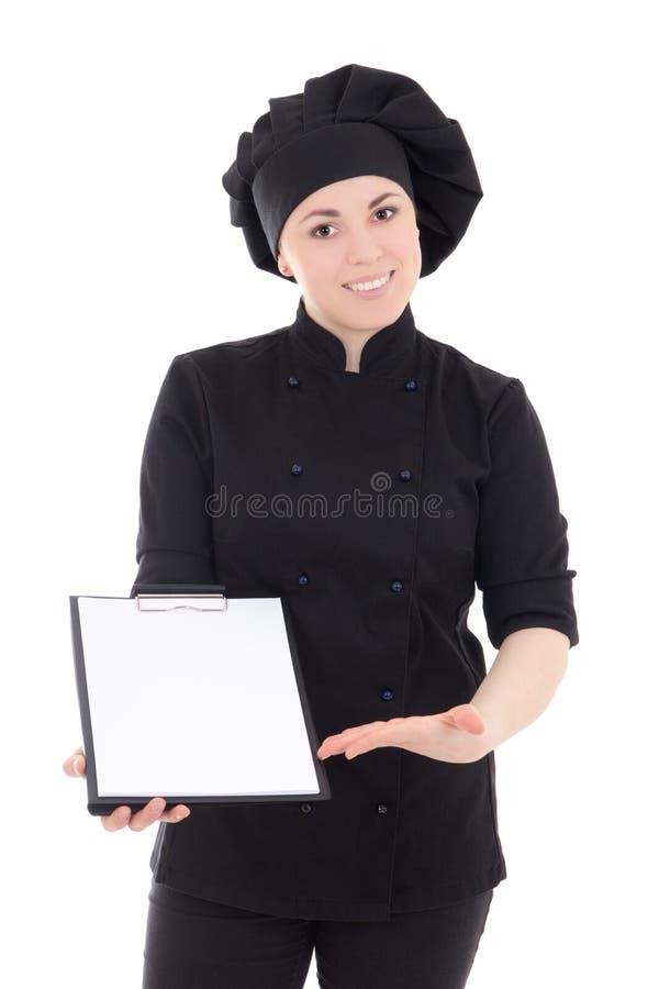 Potomstwa gotują kobiety w czerń mundurze z schowkiem odizolowywającym na whi zdjęcia royalty free