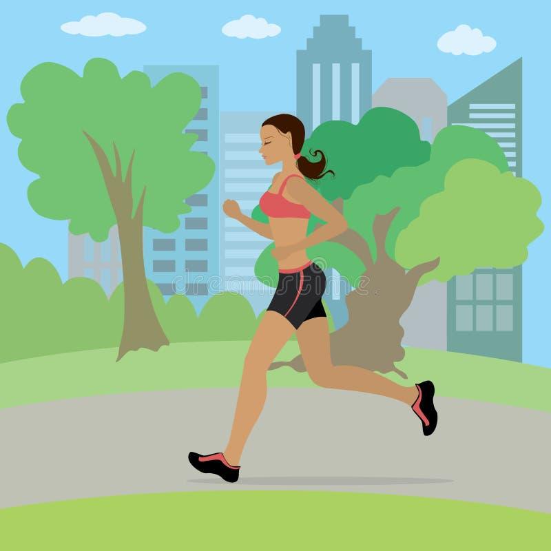 Potomstwa i szczupły kobieta bieg w parku royalty ilustracja