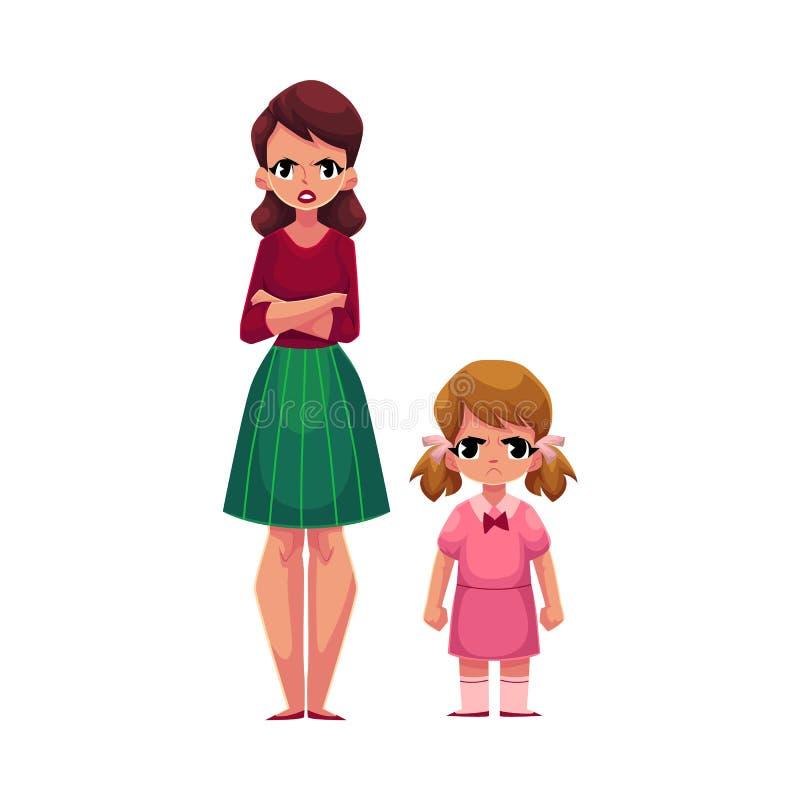 Potomstwa macierzyści i mała córki pozycja z marszczyć brwi, gniewnymi twarzami, ilustracja wektor