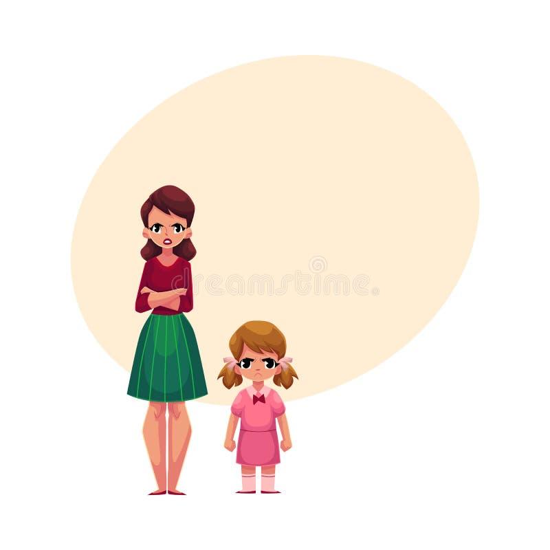 Potomstwa macierzyści i mała córki pozycja z marszczyć brwi, gniewnymi twarzami, royalty ilustracja