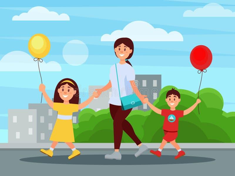 Potomstwa matkują odprowadzenie w parku z jej dziećmi Budynki i krzaki na tle Chłopiec i dziewczyny mienie szybko się zwiększać w ilustracji