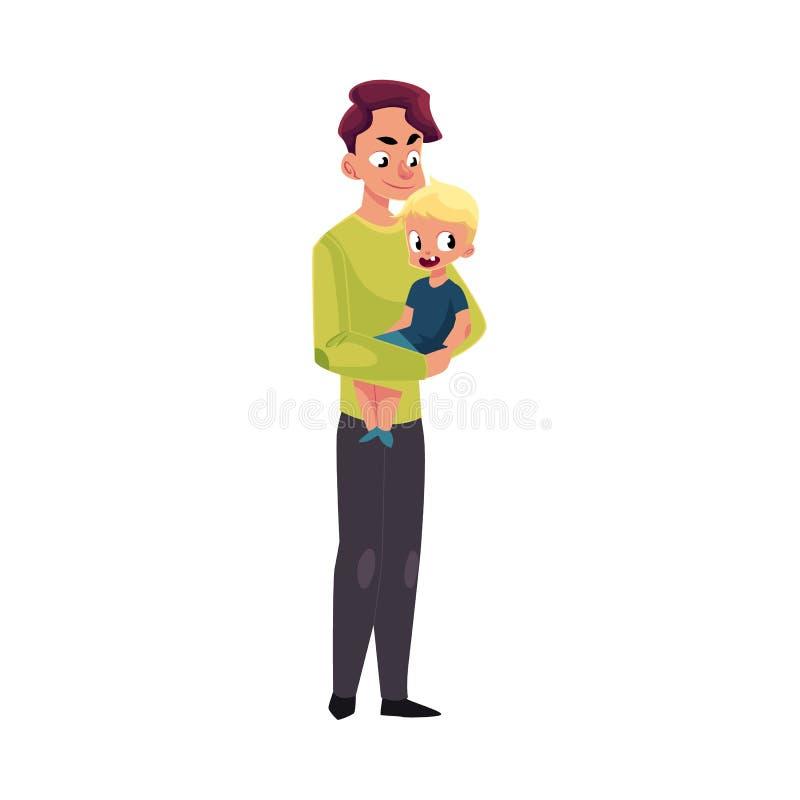 Potomstwa ojcują, tata trzyma małego syna w rękach ilustracji