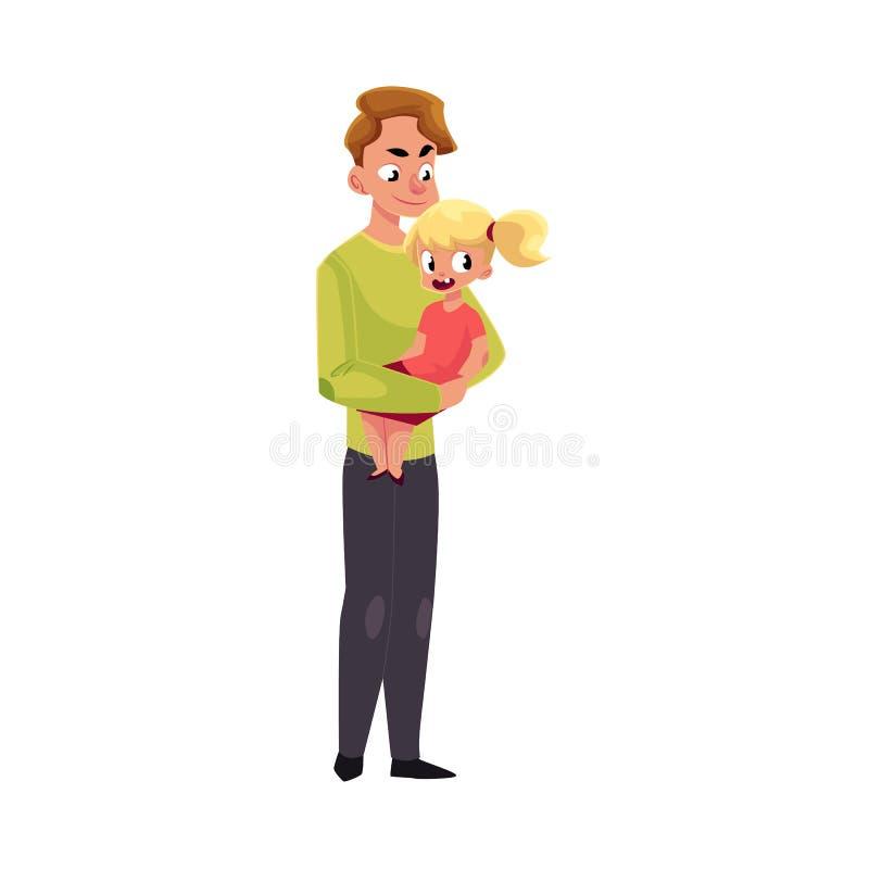 Potomstwa ojcują, tata trzyma małej córki w rękach ilustracja wektor