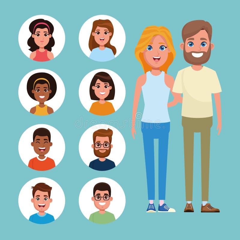 Potomstwa para i przyjaciele royalty ilustracja