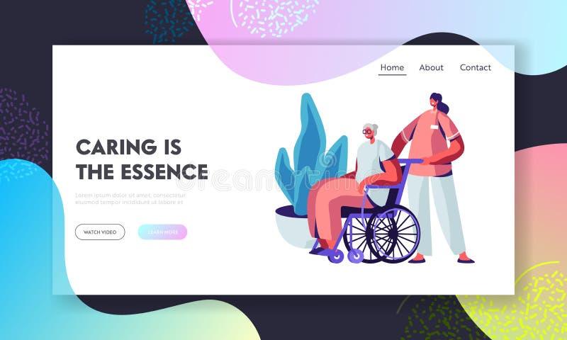 Potomstwa Pielęgnują lub pracownik opieki społecznej opieka Chora Starsza kobieta na wózku inwalidzkim, pomoc Starzy niepełnospra royalty ilustracja