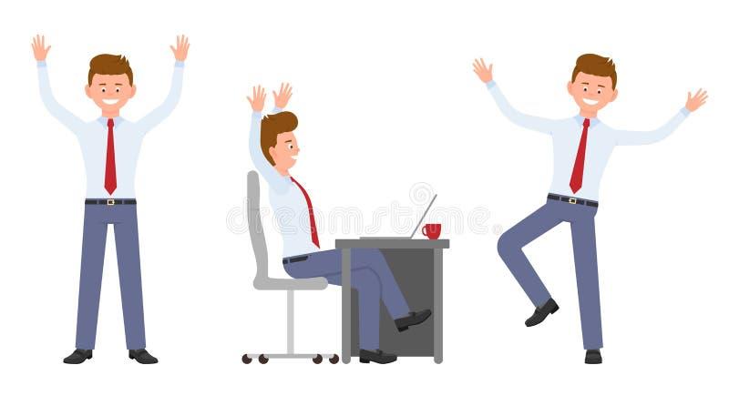 Potomstwa, przystojny, szczęśliwy biurowy mężczyzna w formalnej odzieży doskakiwaniu, obsiadanie, stojący ręki w górę, mieć zabaw ilustracji