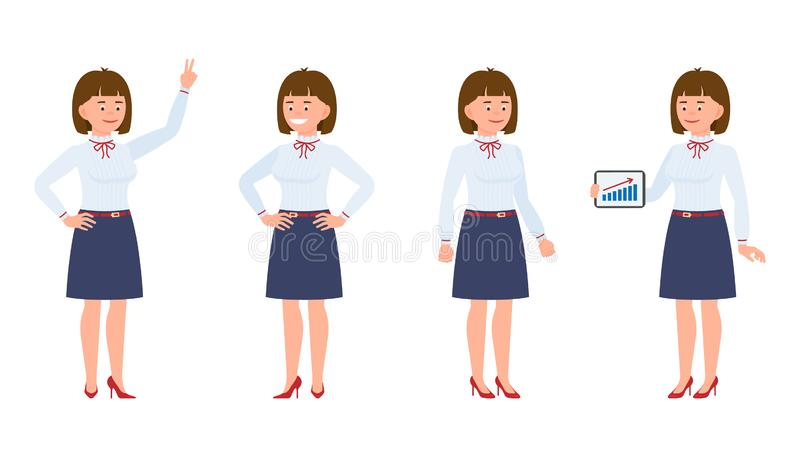 Potomstwa, szczęśliwa biurowa damy pozycja z pastylką, seansu zwycięstwa znak, ono uśmiecha się ilustracja wektor