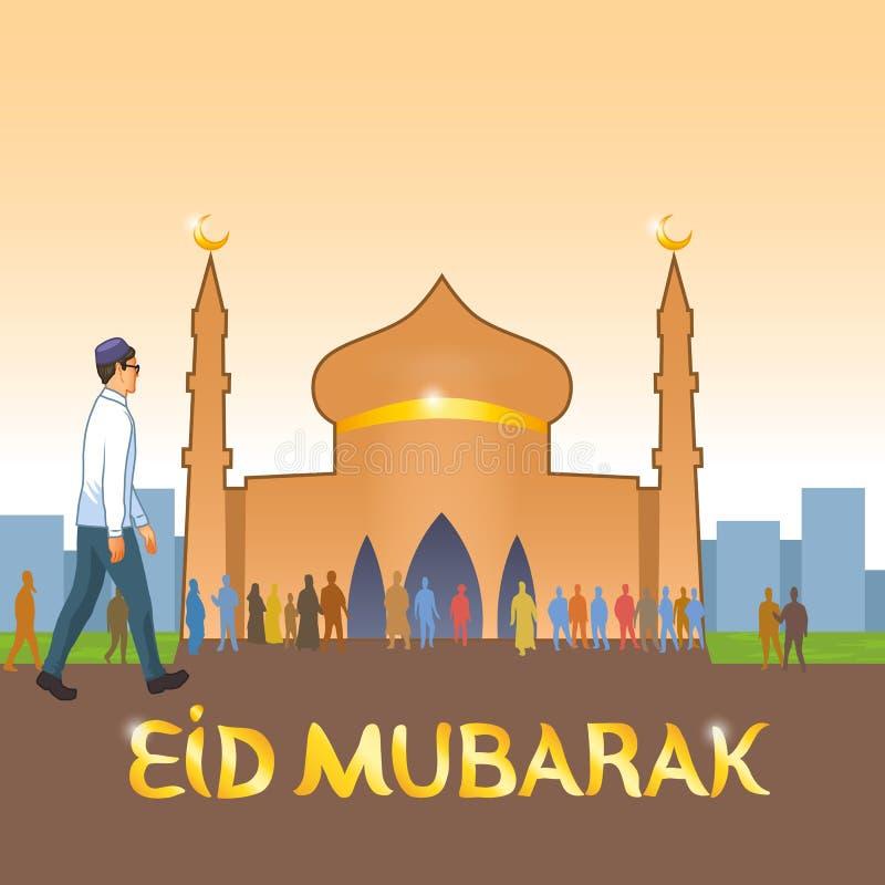 Potomstwa ubierający w europejczyka odzieżowym muzułmaninie iść meczet świętować Muzułmańskiego wakacje ilustracji