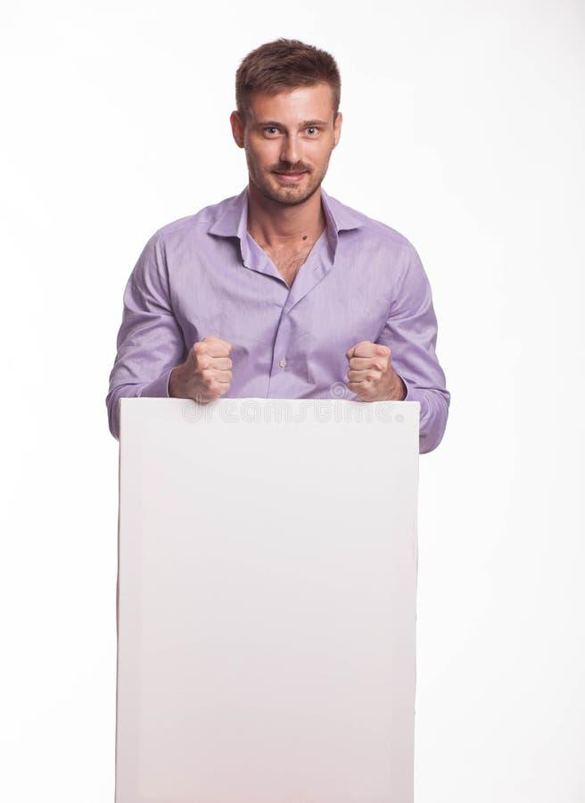 Potomstwa zachęcający obsługują pokazywać prezentację, wskazuje na plakacie obraz stock