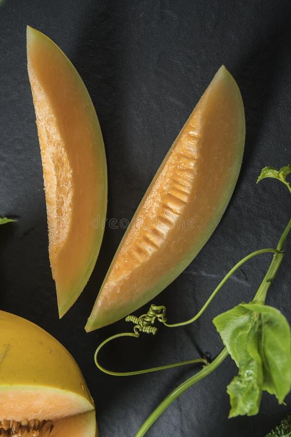 Potomstwo flanca Japo?scy melony lub kantalup?w melon?w ro?liny obrazy stock