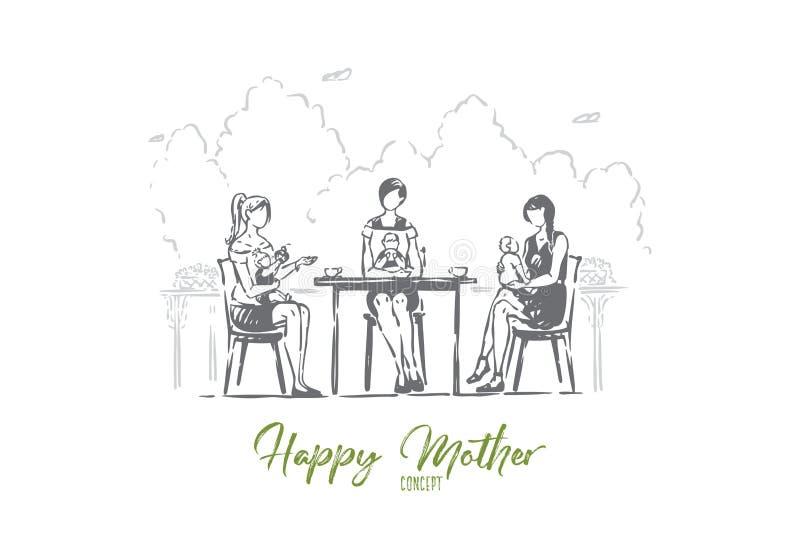 Potomstwo matki z berbeciami siedzi w kawiarni, beztwarzowe kobiety z dziećmi pije kawę, babysitting ilustracji