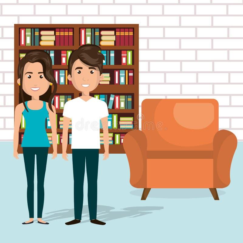 Potomstwo para w bibliotecznych avatars charakterach ilustracja wektor