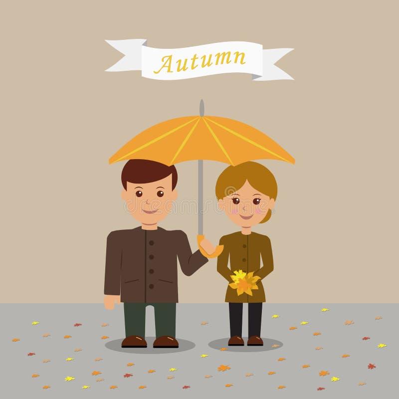 Potomstwo para w jesieni odziewa royalty ilustracja