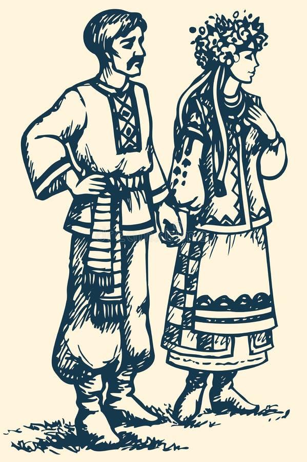 Potomstwo para w Ukraińskiej obywatel sukni Wektorowy nakreślenie ilustracja wektor