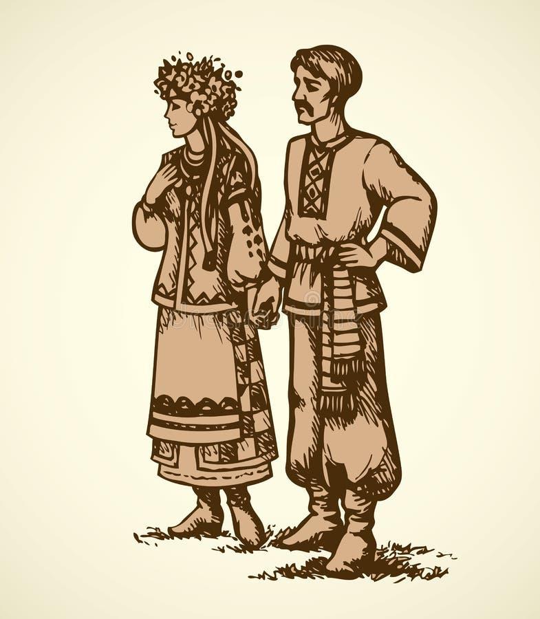 Potomstwo para w Ukraińskiej obywatel sukni Wektorowy nakreślenie royalty ilustracja