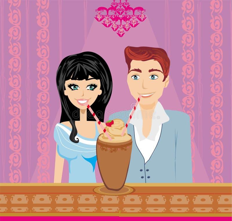 Potomstwo pary flirt i napój kawa ilustracji