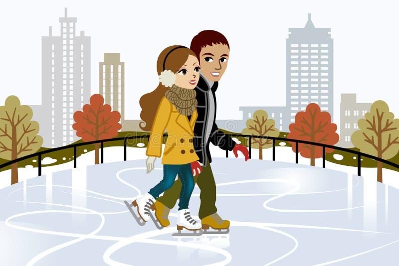 Potomstwo pary jazda na łyżwach w mieście ilustracja wektor