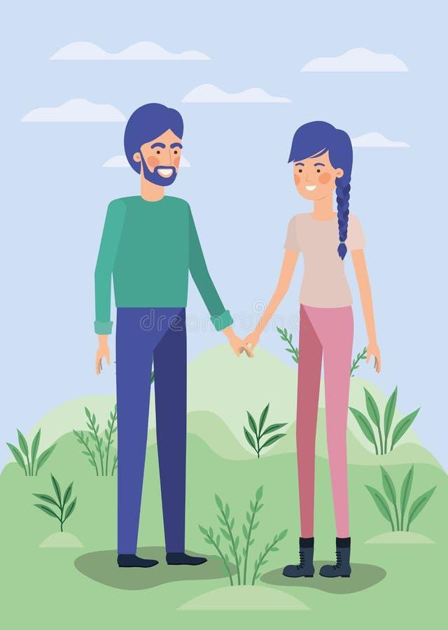 Potomstwo pary kochankowie w polu royalty ilustracja
