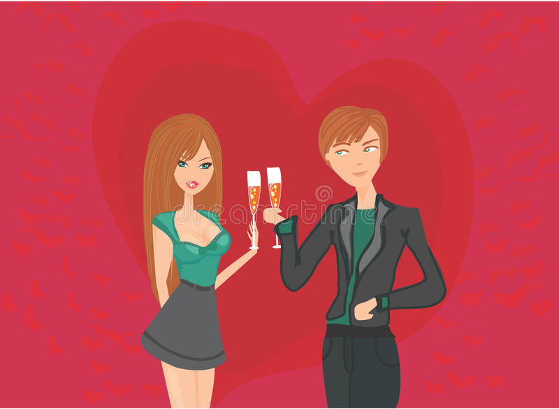 Potomstwo pary napój i flirt ilustracja wektor