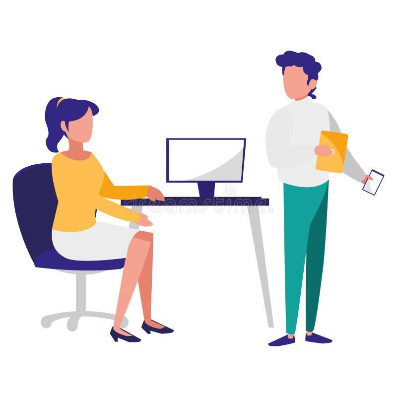 Potomstwo pary pracownicy w biurze ilustracja wektor
