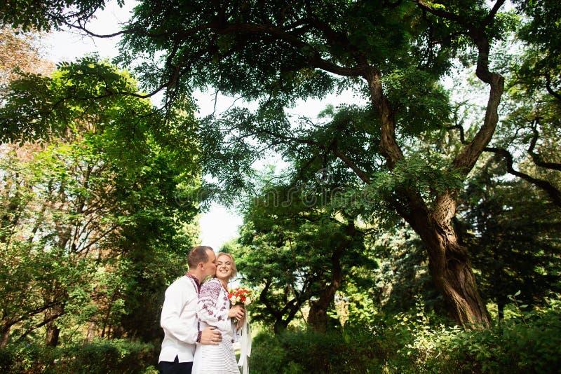 Potomstwo pary przytulenie w pogodnym zieleń parku fotografia stock