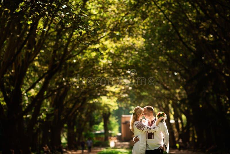 Potomstwo pary przytulenie w pogodnym zieleń parku zdjęcie stock