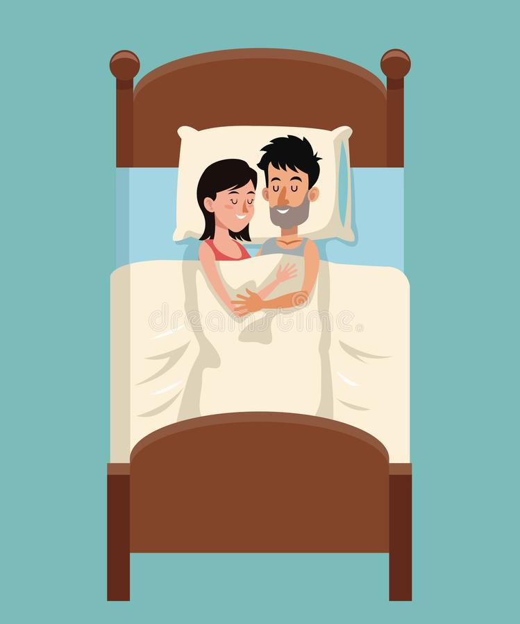Potomstwo pary sen obejmujący wpólnie w łóżku royalty ilustracja