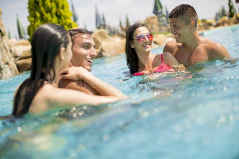 Potomstwo pary w pływackim basenie obrazy royalty free