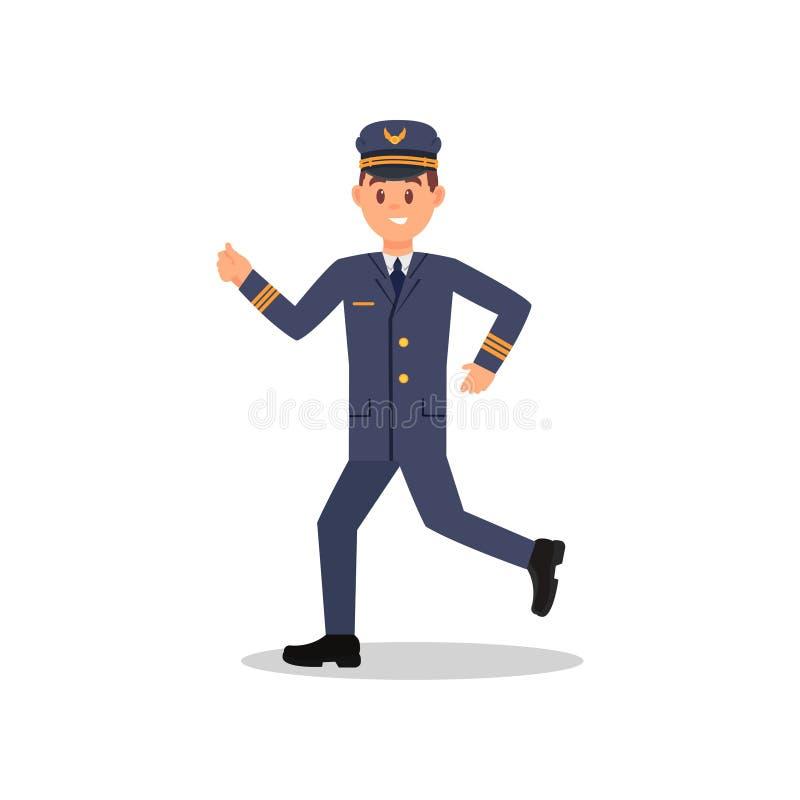 Potomstwo pilot samolot w działającej akci Fachowy lotnik w pracować mundur Odosobniony płaski wektorowy projekt ilustracja wektor