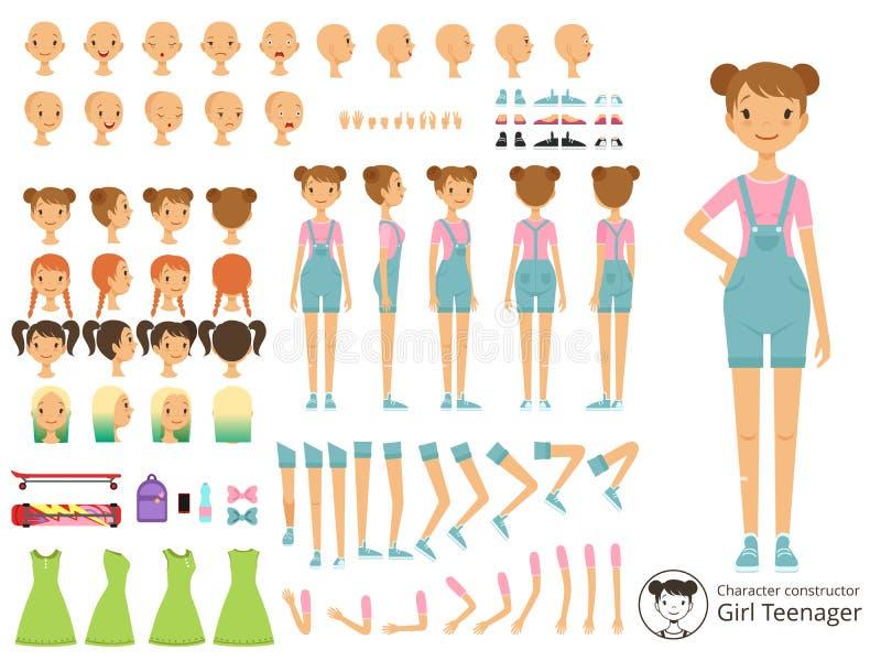 Potomstwo uśmiechu dziewczyny przypadkowy styl Maskotki tworzenia zestaw z różnymi częściami ciała Wektorowy kreskówka konstrukto ilustracji