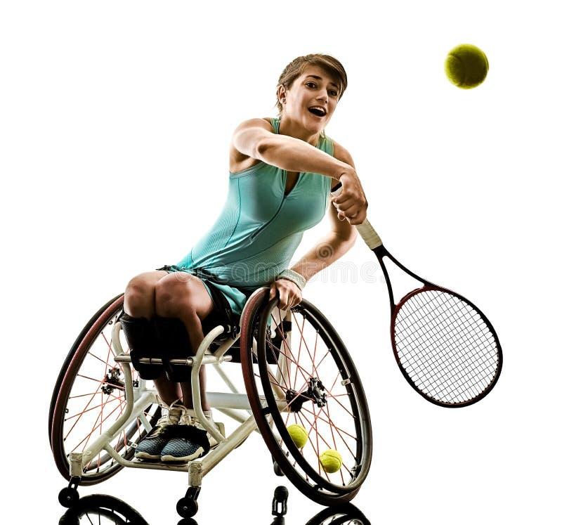 Potomstwo upośledzający gracz w tenisa kobiety welchair bawi się odosobnionego si zdjęcie royalty free